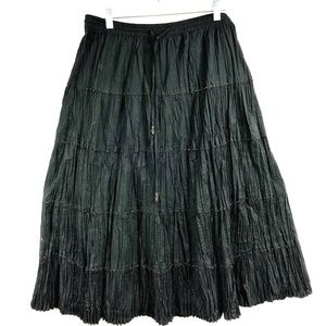 NY Col Sz PL Broomstick Skirt Beaded Black Long